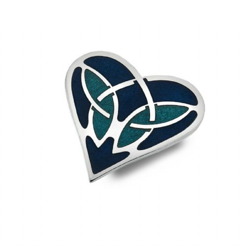 Blue Celtic Heart Brooch Silver Plated Brand New Gift Packaging